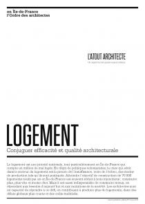 LOGEMENT: CONJUGER EFFICACITE ET QUALITE ARCHITECTURALE